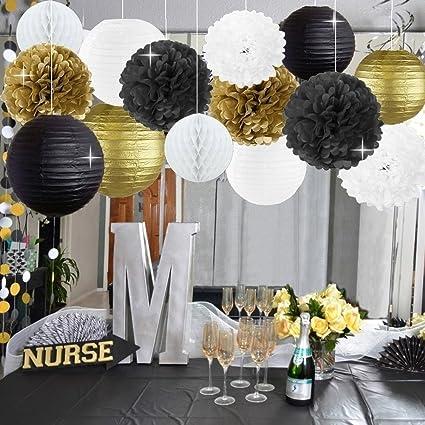 Amazoncom New Years Decorations Gold Black White Party Decor Kit