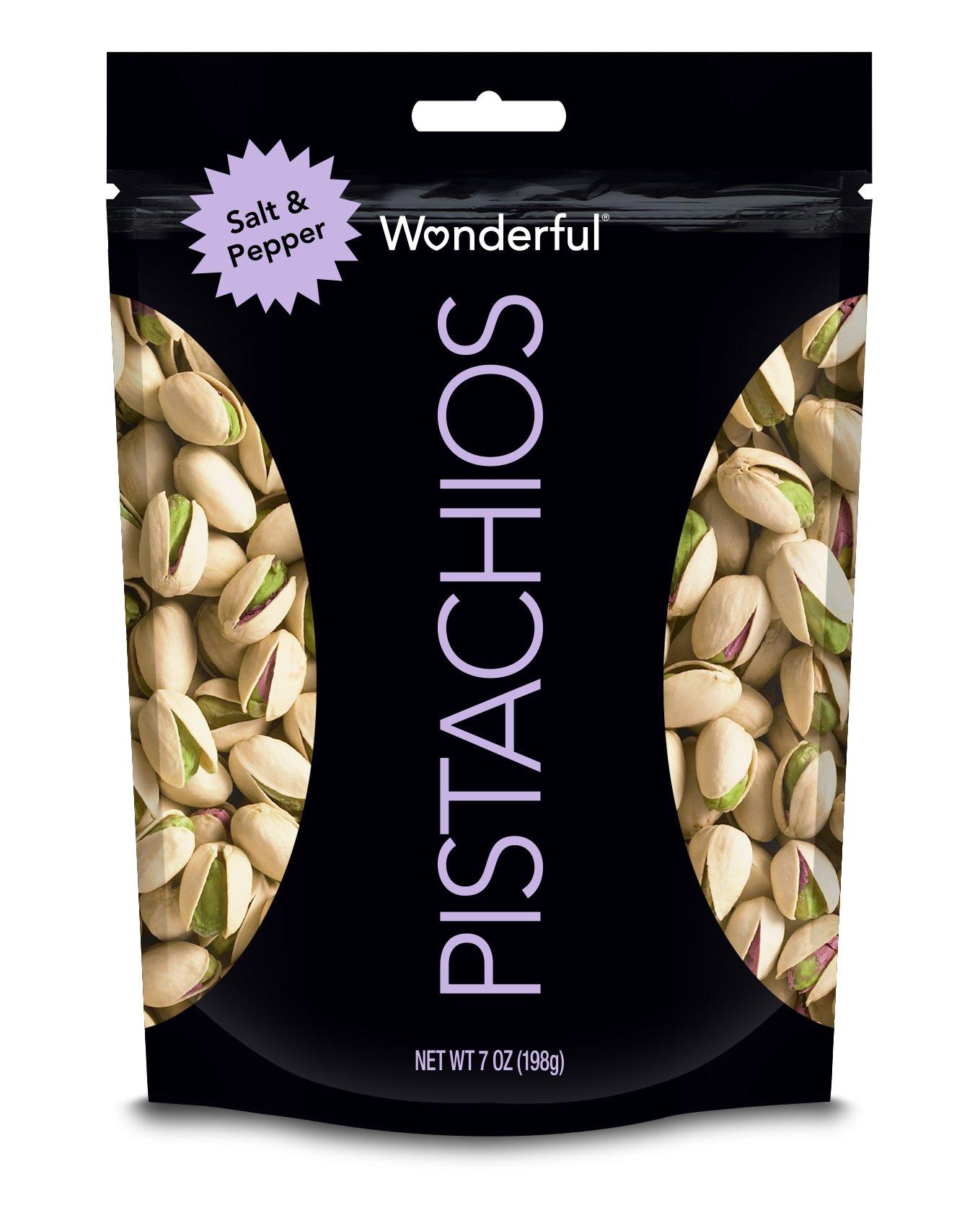 Wonderful Pistachios, Salt and Pepper, 7 Ounce Resealable Pouch