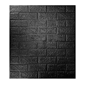 10-Pack 57.5 Sq.Ft Brick Panels 3D for Wall Décor Peel and Stick in Black