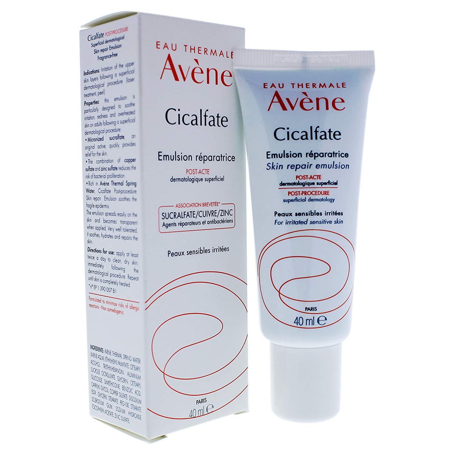Eau Thermale Avene Cicalfate Post- Procedure, Soothing Skin Recovery Lotion, Hypoallergenic, Non-Comedogenic, 1.35 oz.