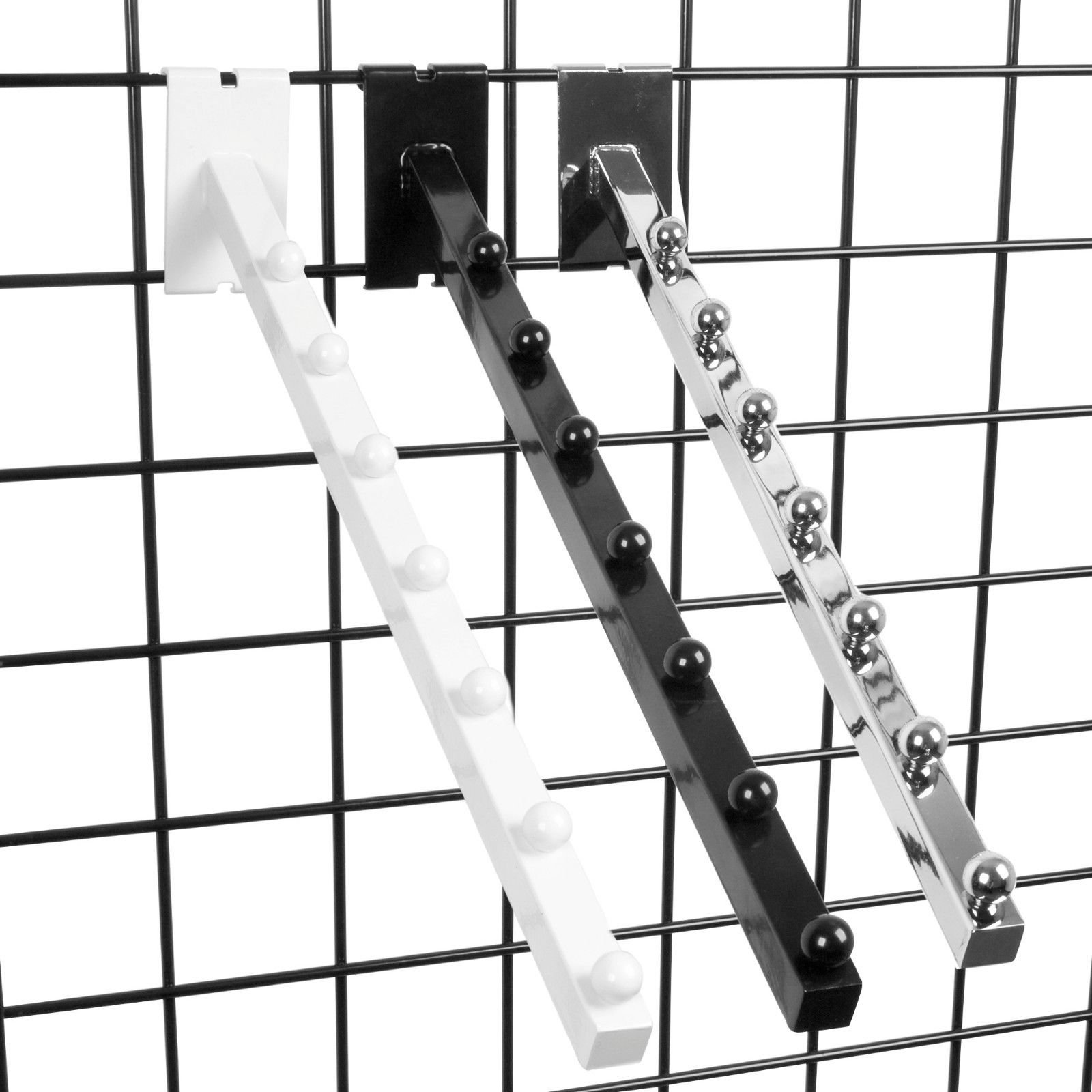 7 Ball Gridwall Waterfall - 18'' L Square Tube Faceout Hook for Grid Panels - White - 10 Pack