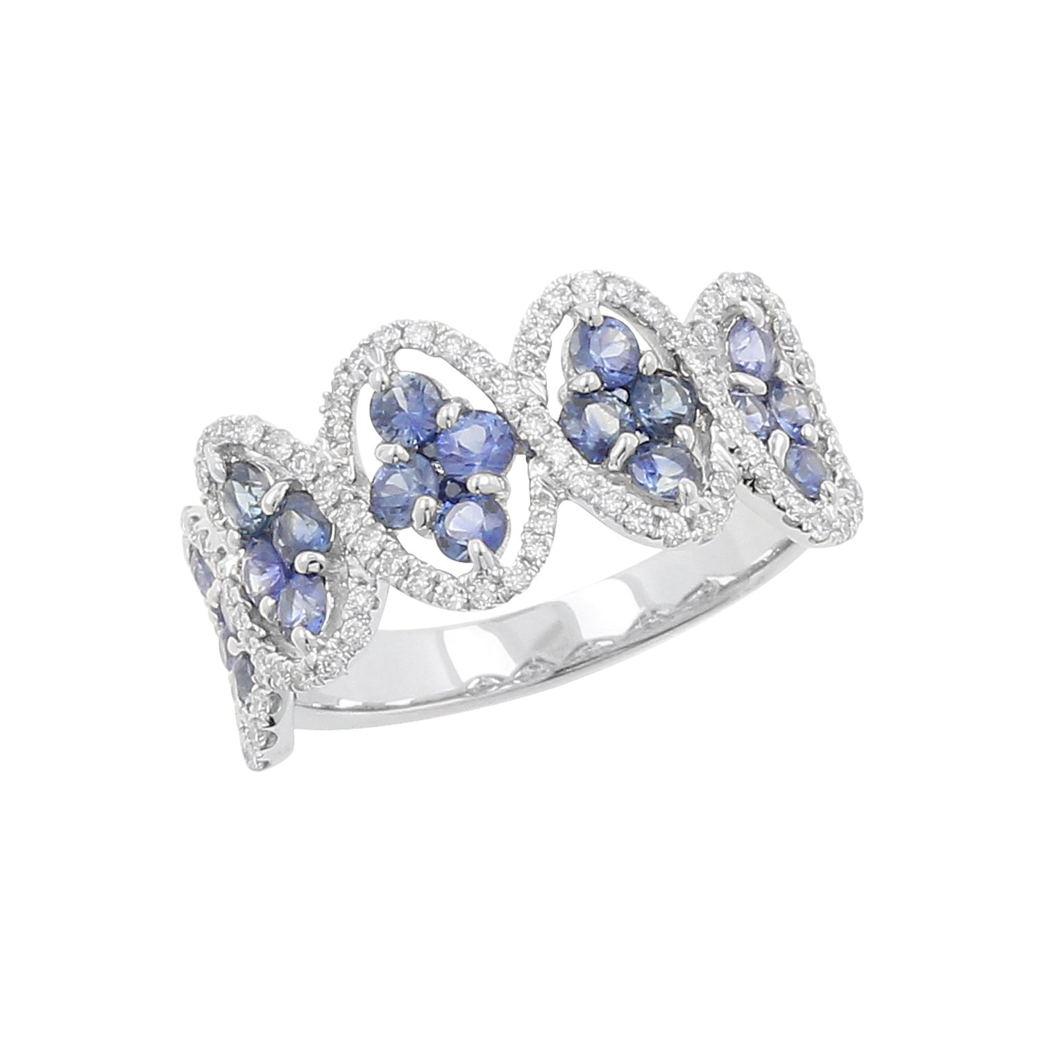 18kt White Gold Blue Sapphire and Diamond Fashion Ring, Size-6.5