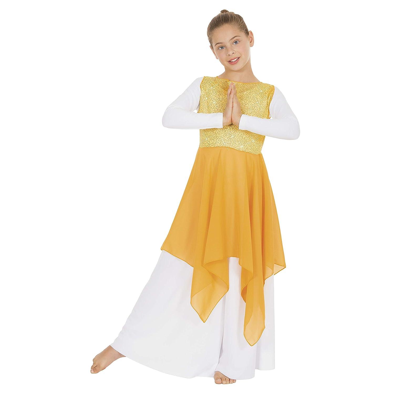 Eurotard 13849c Child Sparkle Chiffon Top with Chiffon Overlay Yellow
