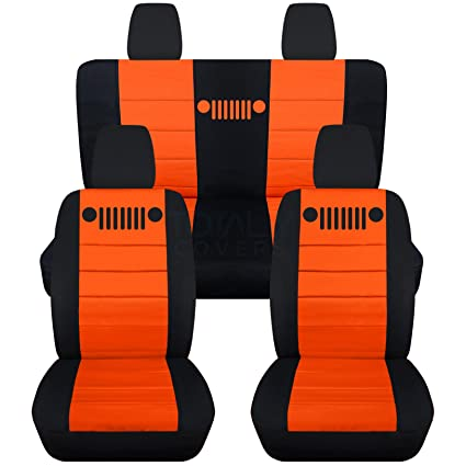 2011 2018 Jeep Wrangler JK Seat Covers: Black U0026 Orange   Full Set: