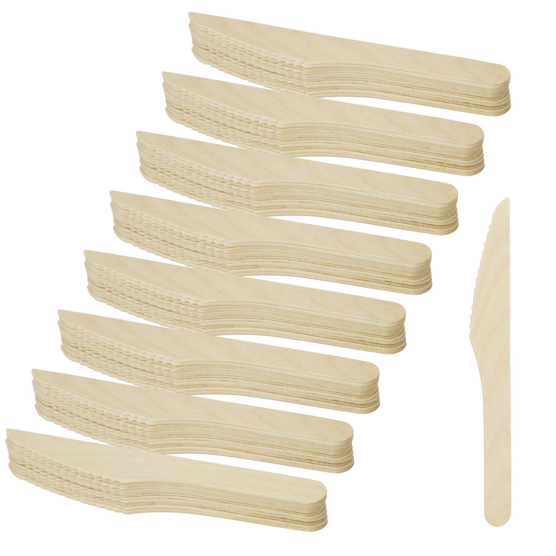 COM-FOUR® Juego de cuchillos de madera de 96 piezas, cuchillo desechable de madera, 16.5 cm (96 piezas - cuchillo de madera)