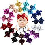 "15pcs Baby Girl Headbands Sparkly Glitter Sequins 4"" Big Hair Bows Ribbon Soft Stretchy Hair Bands for Infant Newborn…"