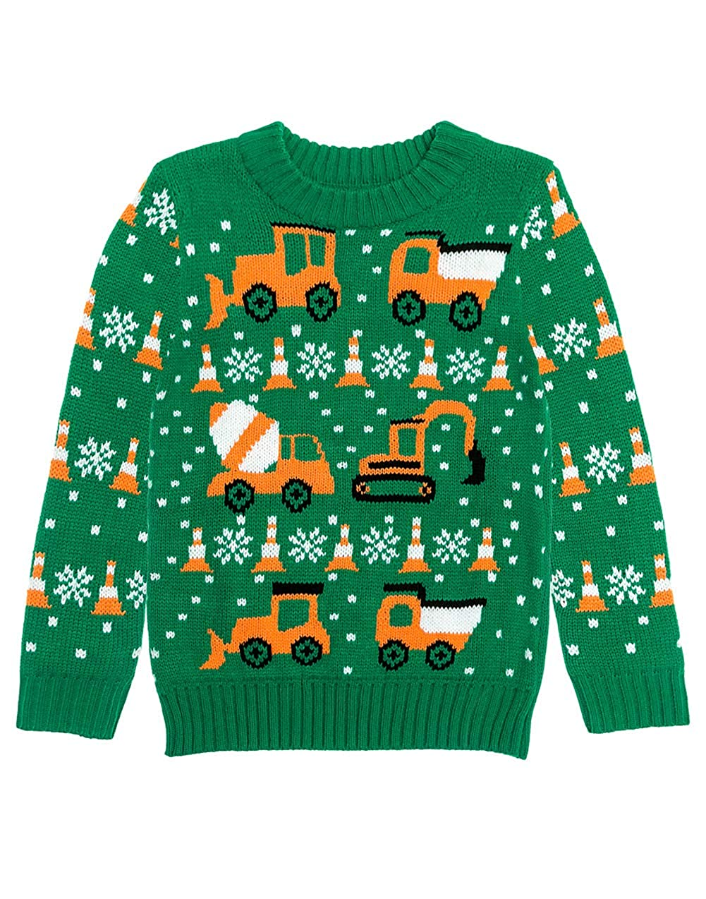 Tractors & Bulldozers Ugly Christmas Sweater Holiday Boys Toddler Sweater GaMPt0Mg5d