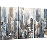 Hardy Gallery Abstract City Picture Wall Art: Urban Downtown Artwork Painting Print on Wrapped Canvas for Office (26'' x…