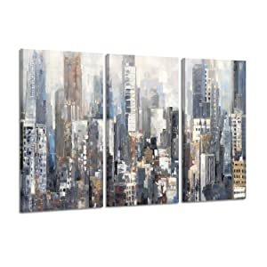 Hardy Gallery NYC Skyscrapers Abstract Cityscape Arts, Blue Gray City Views Prints on Canvas for Wall Decor