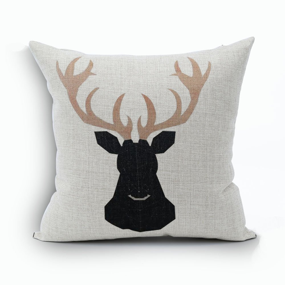 WoodBury Throw Pillow Case Cushion Cover Decorative Pillowcase Square Deer Pattern 18 x 18 Inches 4 Set by Wood Bury (Image #2)
