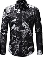 Men Blouse, Balakie Floral Printed Button Up Tops Turn Down Collar Casual Shirts