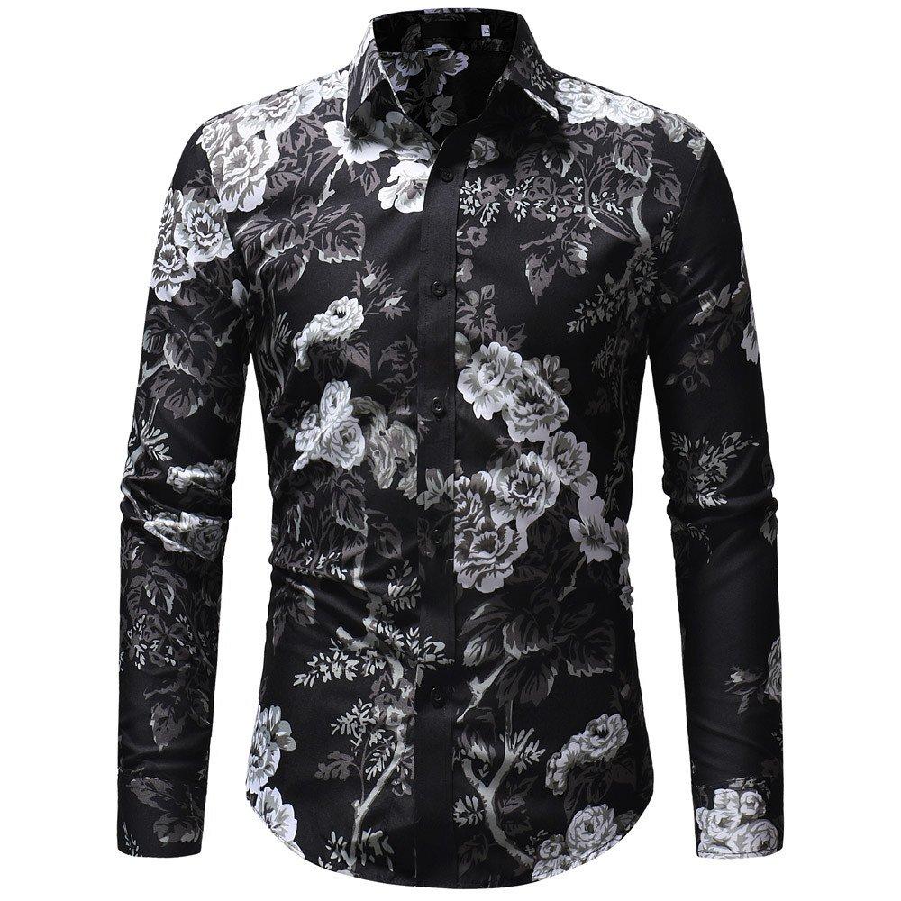 SuperSU Herren Herbst Winter Casual Print Floral Langarm Taste T-Shirt Top Bluse Fashion Langärmliges Hemd mit Bunt Still Fashion Langärmliges Hemd mit Bunt Druckmuster Freizeit Polohemd Oktoberfest