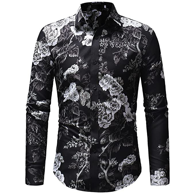 Cebbay Camisa Estampada Hombre con Estampado Camisa Estampada de Manga Larga Slim Fit: Amazon.es: Ropa y accesorios