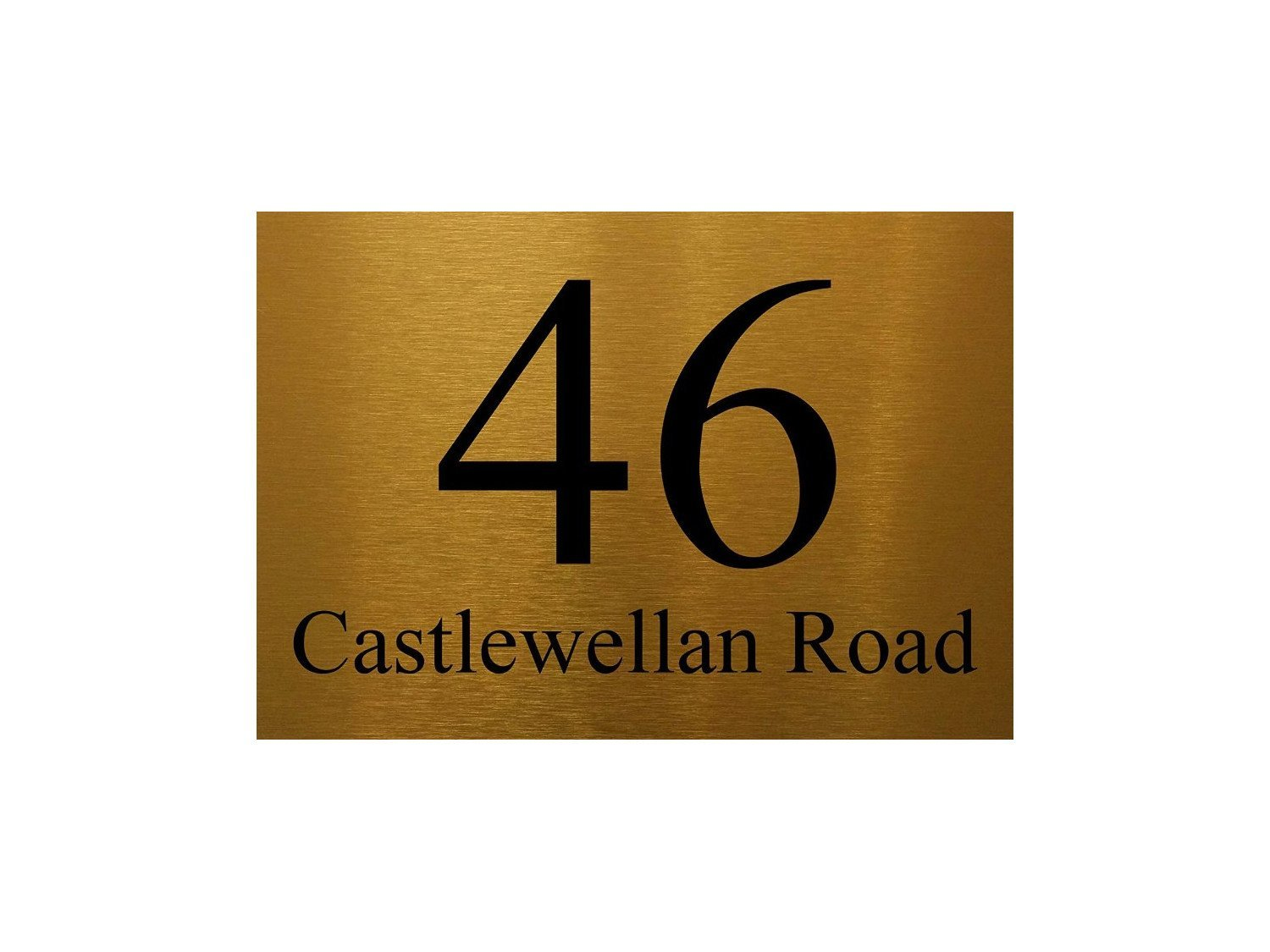 Personalised Metal Aluminium 6x8' Signs Door Plaques House Number Street Name by MegSub (6x8' Rounded Corners, Gold) Door Sign