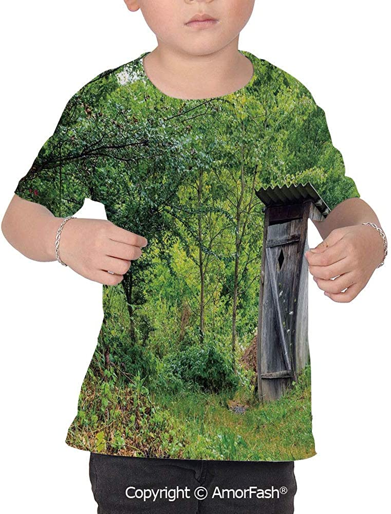PUTIEN Outhouse All Over Print T-Shirt,95/% Polyester,Childrens Short Sleeve T-ShirtOld