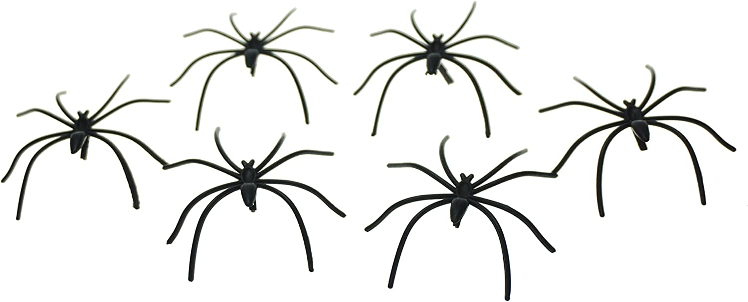 50 SMALL HALLOWEEN CREEPY PARTY DECORATION FAKE PLASTIC TOYS FUNNY BLACK SPIDERS