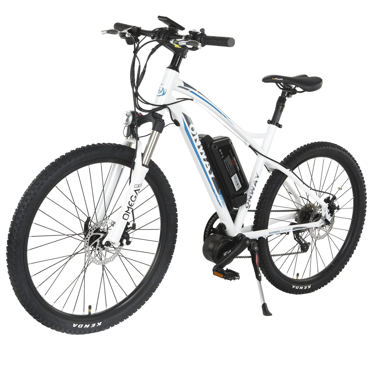 Amazon com onway 26 inch 9 speed electric mountain bike 8 fun 36v 350w brushless mid position motor lithium battery white sports outdoors