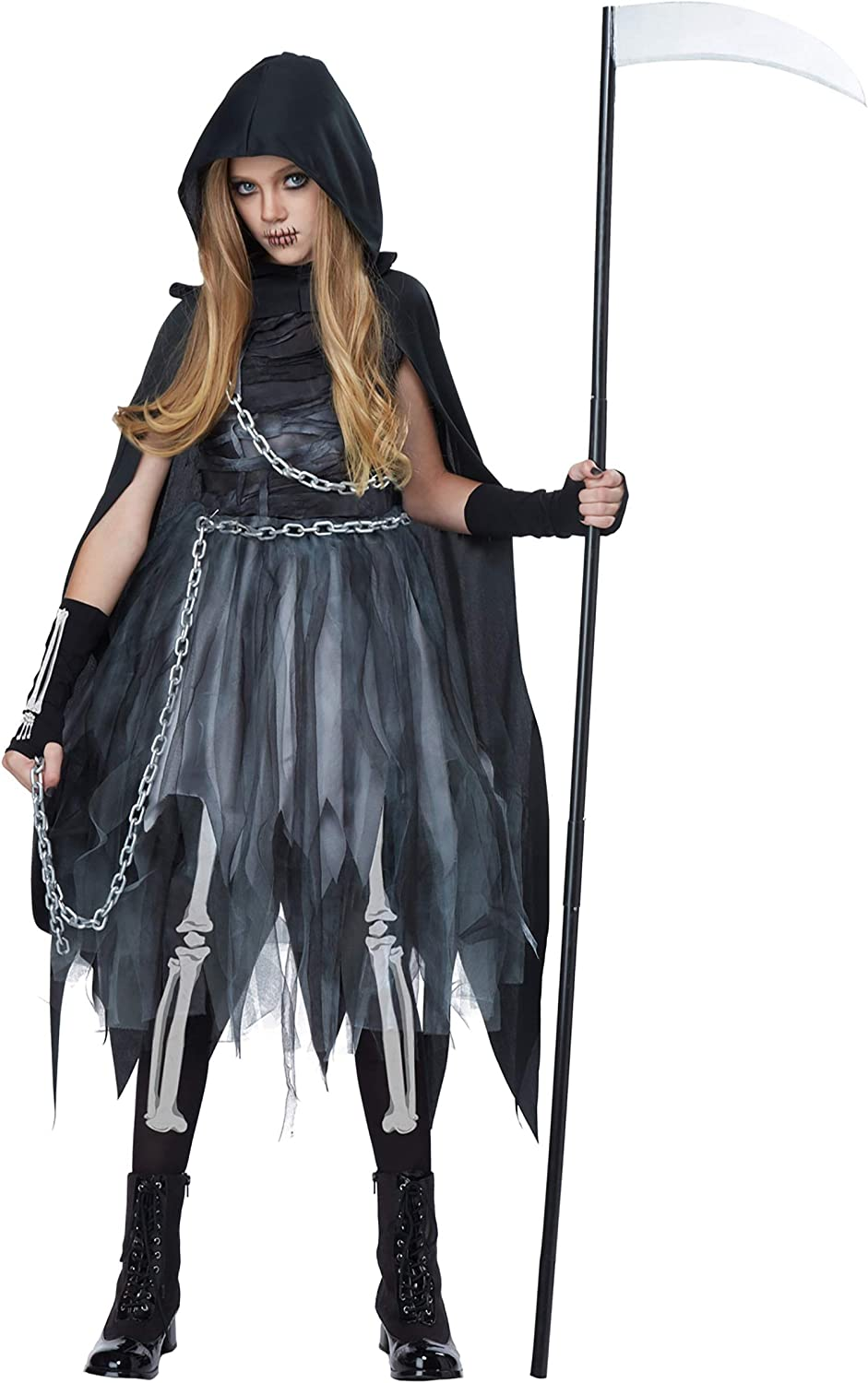 Ladies Grim Reaper Costume Adult Death Robe Halloween Womens Fancy Dress Outfit