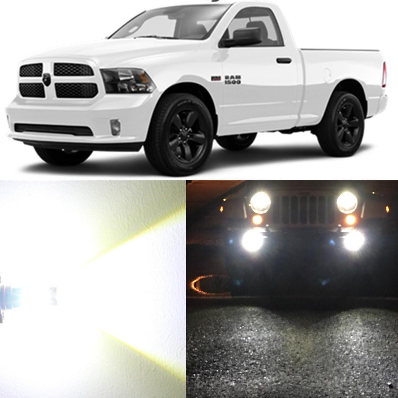 LED Headlight Kit H10 9145 6000K White Fog Lights for 2010-2019 DODGE RAM 1500
