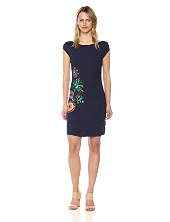 Desigual Womens Erika Short Sleeve Dress, Navy, ...
