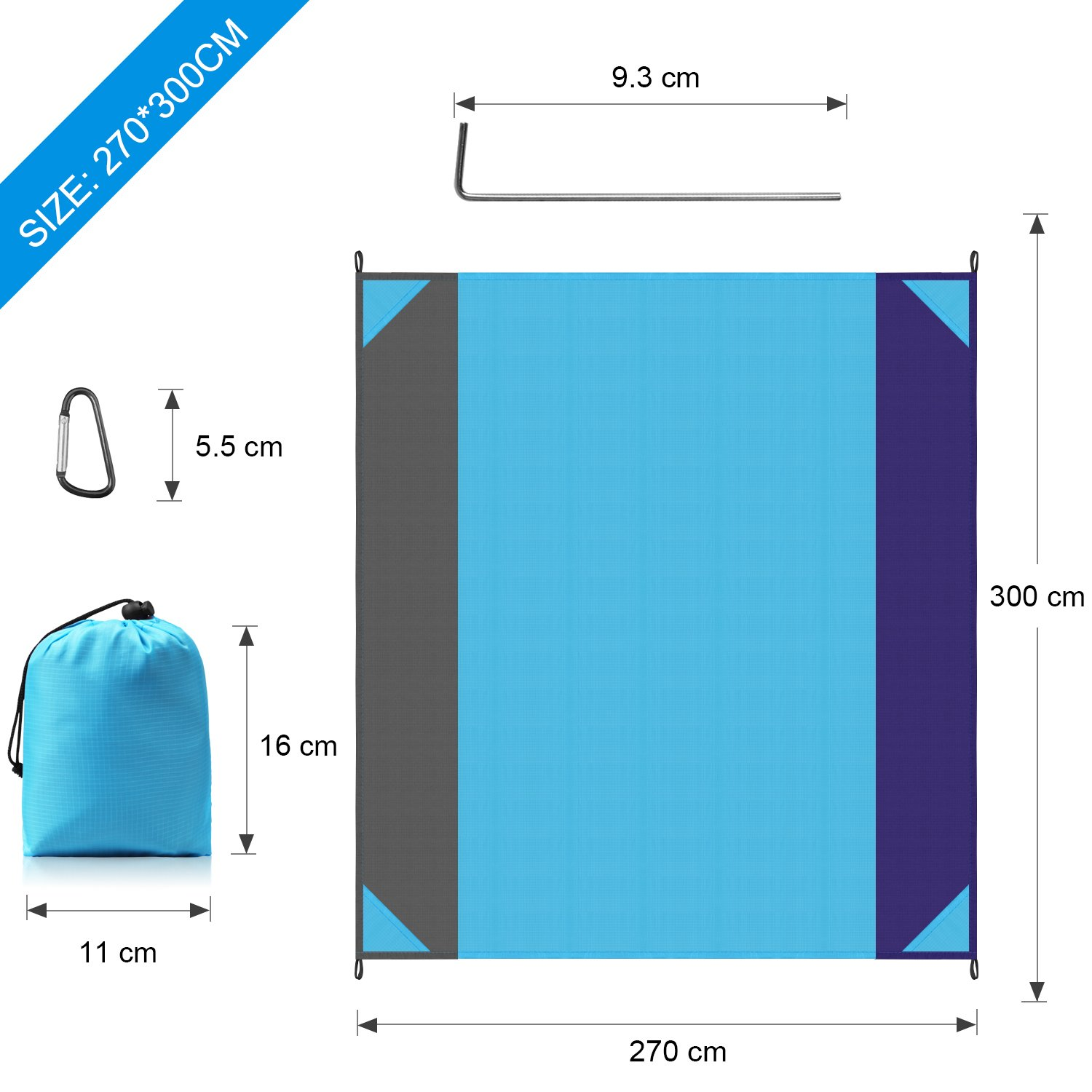 Waterproof Outdoor Picnic Mat for Beach Machine Washable STCT Street Cat 10X 9 Extra Large Beach Blanket Camping Music Festival Hiking Soft Lightweight Pocket Blanket
