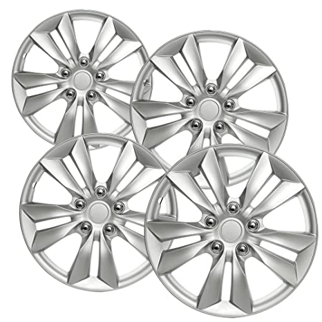 Hubcaps 16 inch Wheel Covers - (Set of 4) Hub Caps for 16in Wheels Rim Cover - Car Accessories Silver Hubcap Best for 16inch Cars Standard Steel Rims - Snap ...
