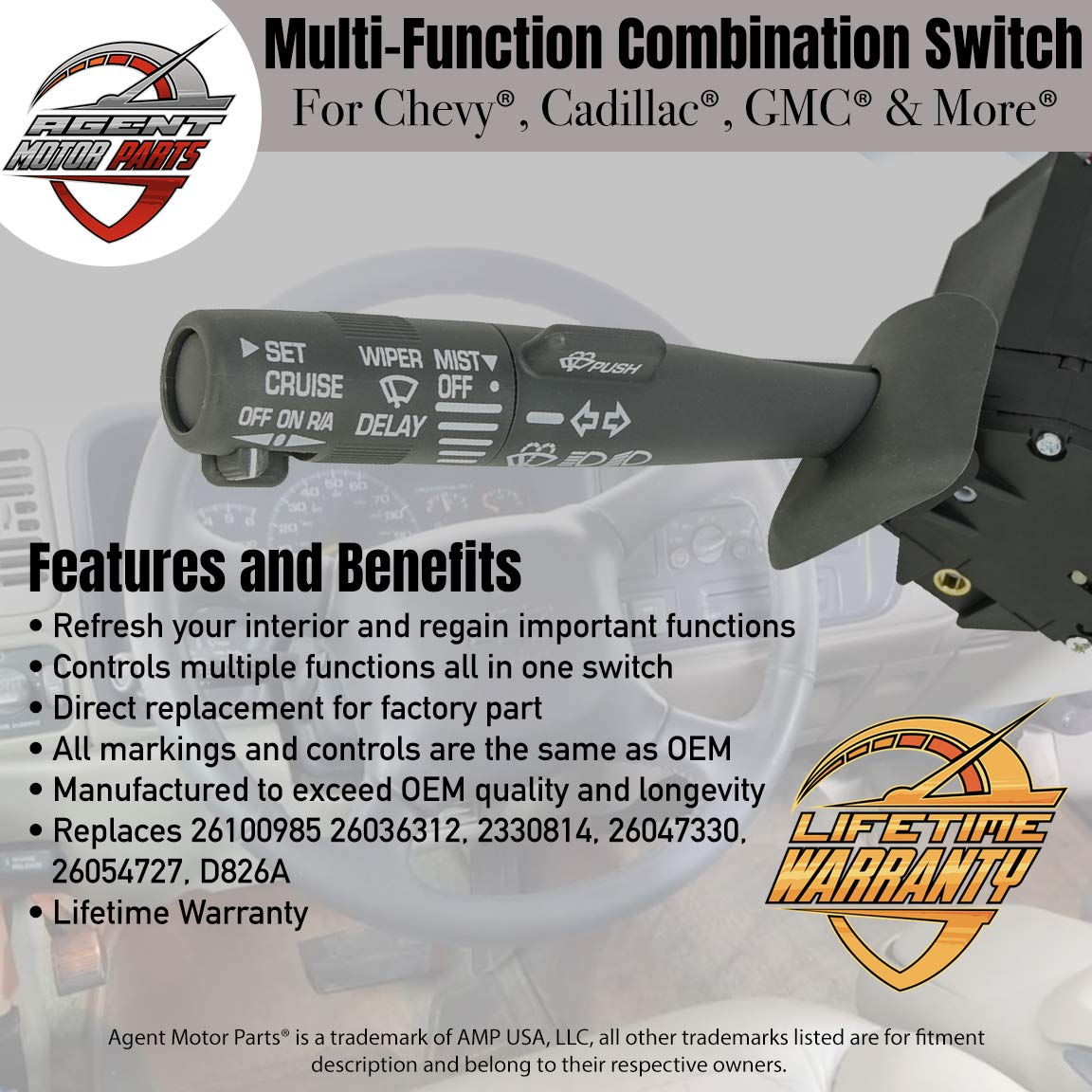 K1500 26036312 Sierra Replaces OE Part# 2330814 26100985 Suburban Multi-Function Combination Column Switch Turn Signal//Wiper//Washers//Hazard//Cruise Control For Fits Chevy Tahoe Blazer