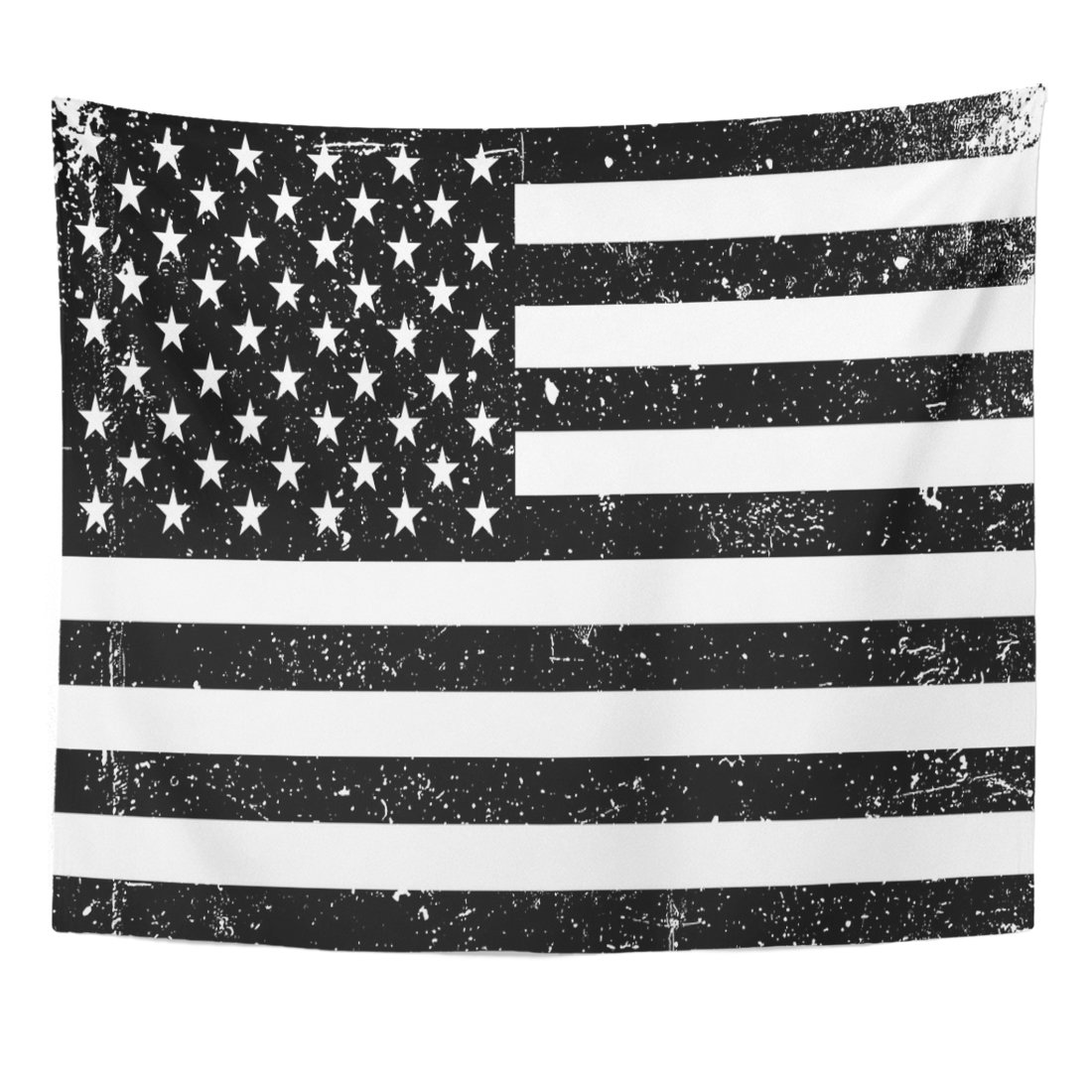 Emvency Tapestry Monochrome United States of America Flag Black and White Home Decor Wall Hanging for Living Room Bedroom Dorm 50x60 inches