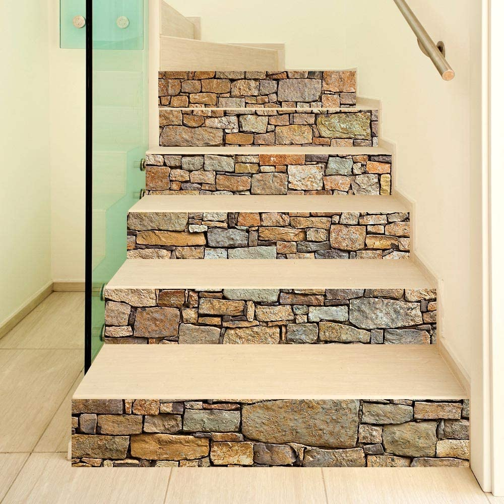 ColorSpring 3D White Wall Brick Stair Stickers Self-Adhesive Stair Stickers Home Decor 39.3inchx 7inchx 6 PCS