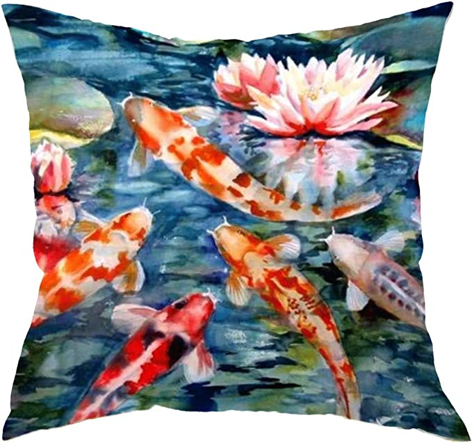 Amazon Com Gettoget Watercolor Japanese Koi Fish Pillow Cases Comfortable Throw Pillow Cover For Sofa Home Room Bed 16x16 In Home Kitchen