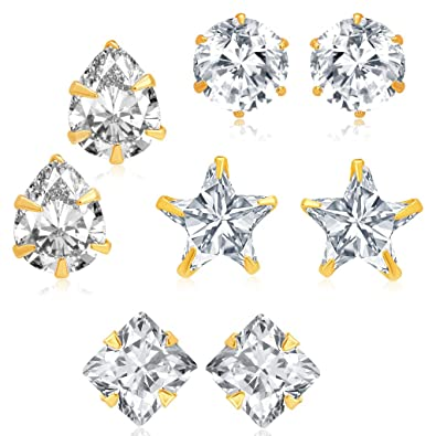 d29357390 Buy Sukkhi Fancy Gold Plated CZ Set of 4 Pair Earring Combo For Women Online  at Low Prices in India | Amazon Jewellery Store - Amazon.in