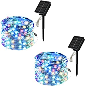 CAIDU 2Pack Colorful Solar Fairy String Lights, Total 141Ft 400LEDs Fairy Lights Powered by Solar and Battery, 2400mA IP65 Waterproof-Outdoor String Lights,8 Modes Upgraded Solar Powered String Lights