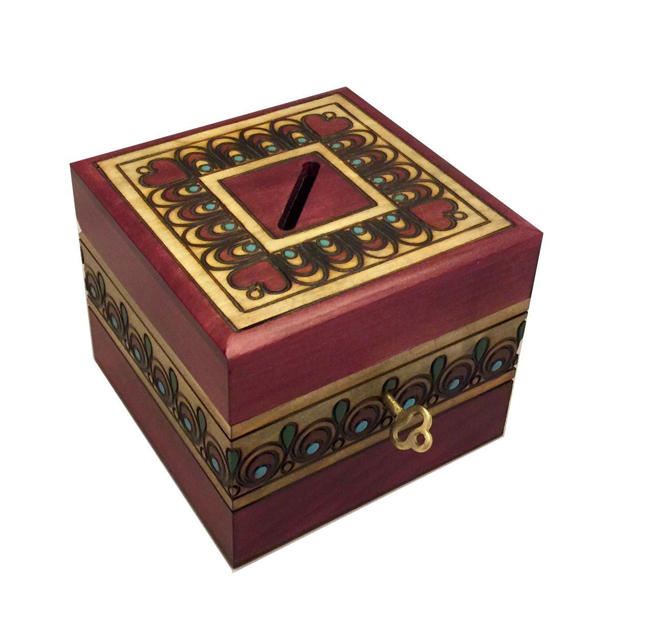 Wooden SAVINGS BANK BOX with Lock and Key Polish Handmade Linden Wood Piggy Money Bank Unique Keepsake Gift   B072Q6H6W1