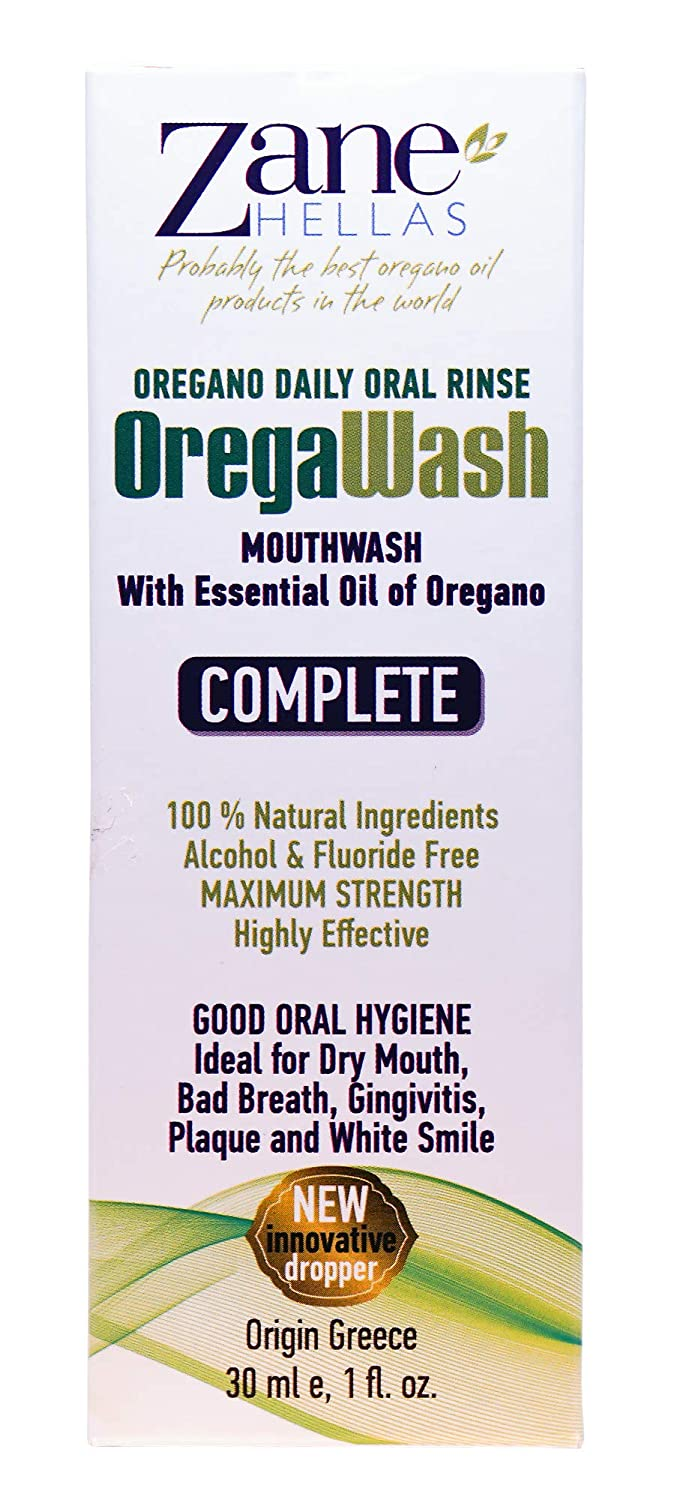 OREGAWASH Oregano Daily Oral Rinse. 100% Natural. 1 Fl. Oz. - 30ml. Alcohol, Fluoride Free. Naturally Bacteria Fighting. Ideal for Gingivitis, Plaque, Dry Mouth, Bad Breath Support. Good Oral Health. ZANE HELLAS