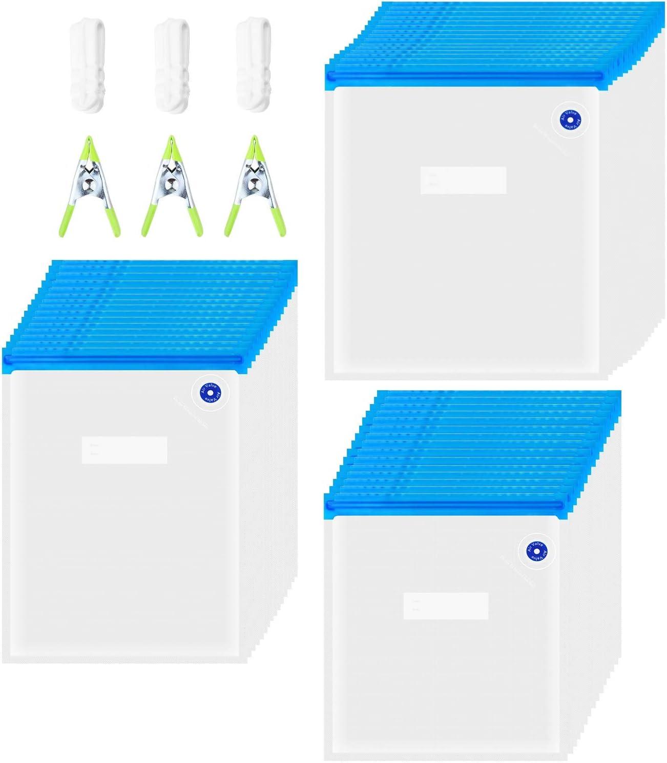 ZEROLISM Sous Vide Bags, 45 Reusable BPA Free Food Vacuum Sealer Bags,3 Sizes of Vacuum Zipper Bags,3 sealing clips, 3 sous vide bag clips, for Food Storage,Food Preservation,Joule Cookers and Anova