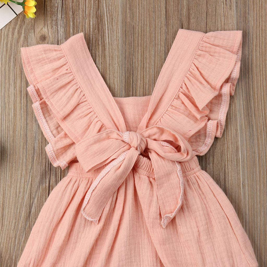TheRang Toddler Infant Baby Girls Ruffles Sleevless Romper Cute Tie Back Bodysuit Outfits