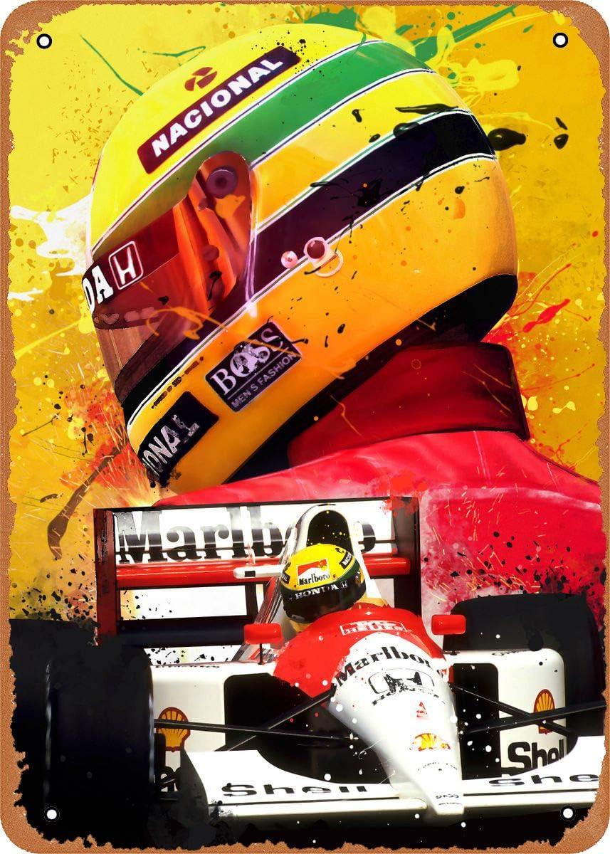 Fanzi Vintage Look Metal Sign - Formula 1 Alternative Poster Ayrton Senna Legend F1-8