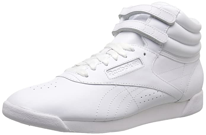 Vintage Sneakers, Retro Designs for Women Reebok Womens Freestyle Hi Lace-Up Sneaker $74.65 AT vintagedancer.com