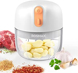 Rosmax Mini Food Chopper, Wireless Electric Mini Garlic Chopper Crusher, Portable Food Processor for Chop Onion, Ginger, Vegetable, Pepper, Spice, Meat, Baby Food, Garlic Machine BPA Free