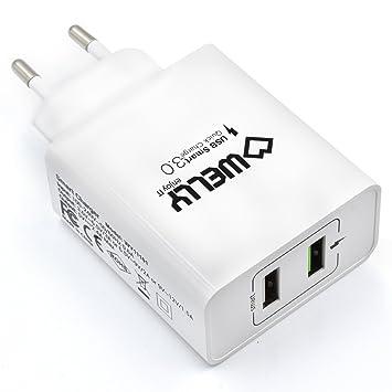Welly Enjoy IT WY11101 - Cargador rápido con 2 puertos USB (5 V/2.4 A, 30 W) color blanco