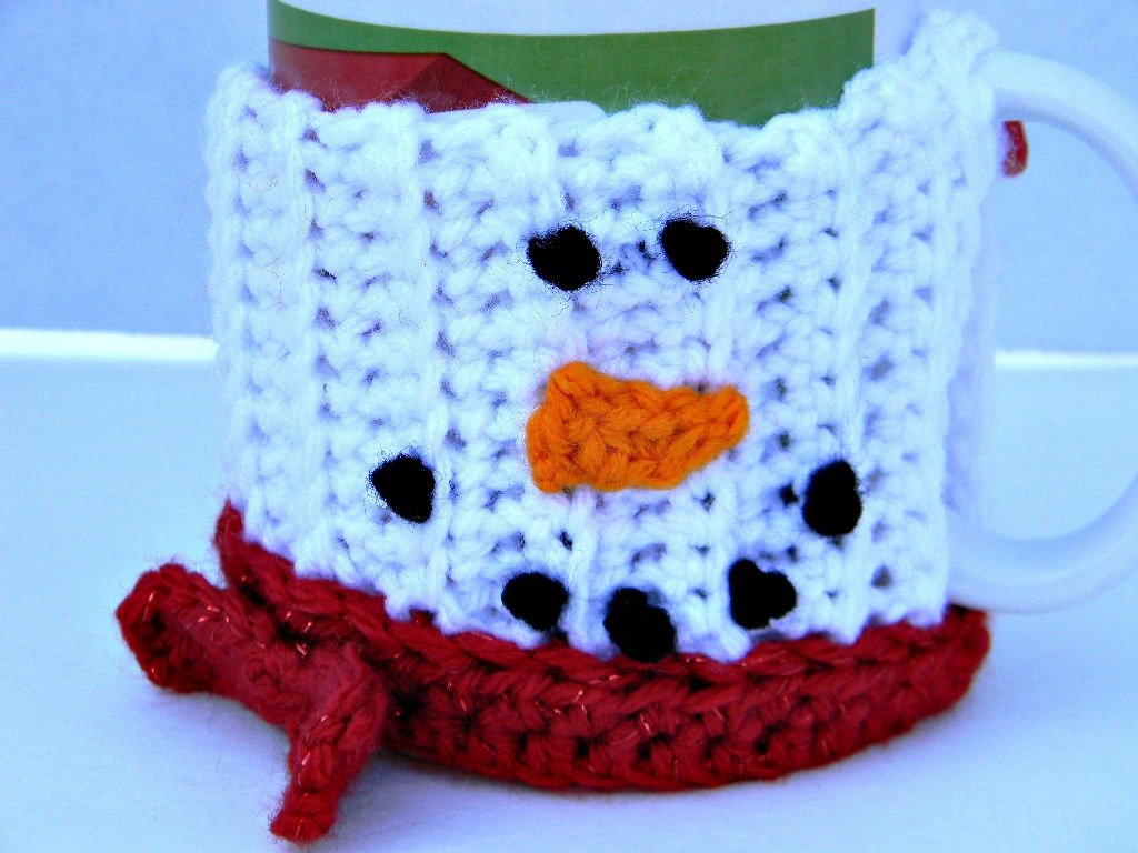 Amazon Mug Cozy White With Red Scarf Snowman Coffee Cup Cozy