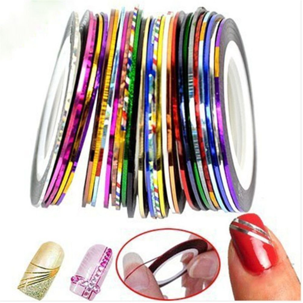 OBELLA BOUTIQUE 1mm 10pcs/Lot Color Glitter Nail Striping Line Tape Sticker Set Nail Art Decorations DIY Tips For Polish Gel Manicure by OBELLA BOUTIQUE