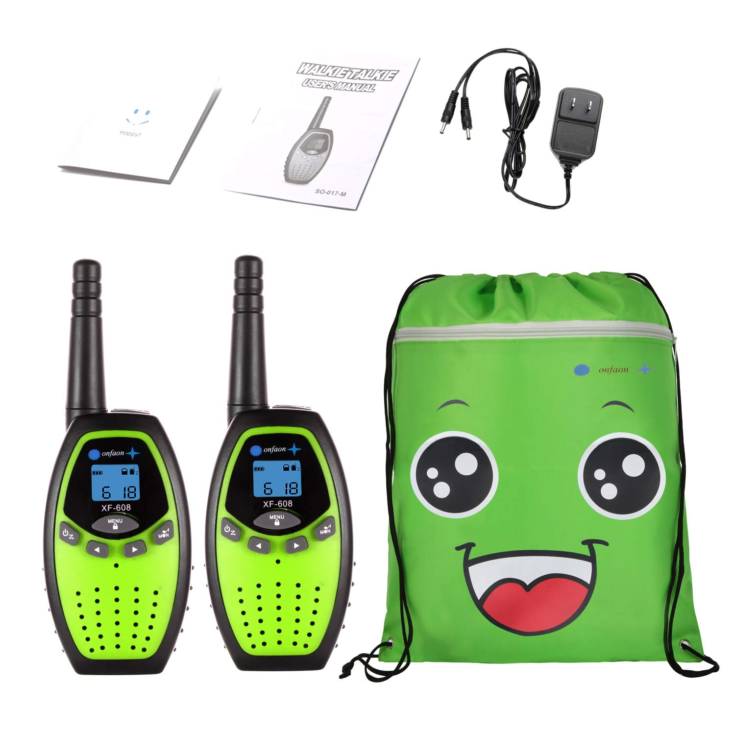 onfaon Walkies Talkies for Kids,22 Channels 2 Way Radios Long Range with Automatic Battery Save,Range Up to 2 Miles for Camping,Hiking,Fishing,Outdoor Activities. (Green)