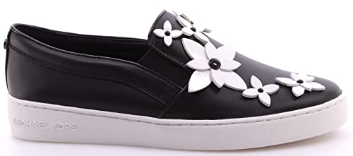 9ef671da65e38f Michael Kors Women's Shoe Sneakers Lola Slip On Leather Black White Flowers  New