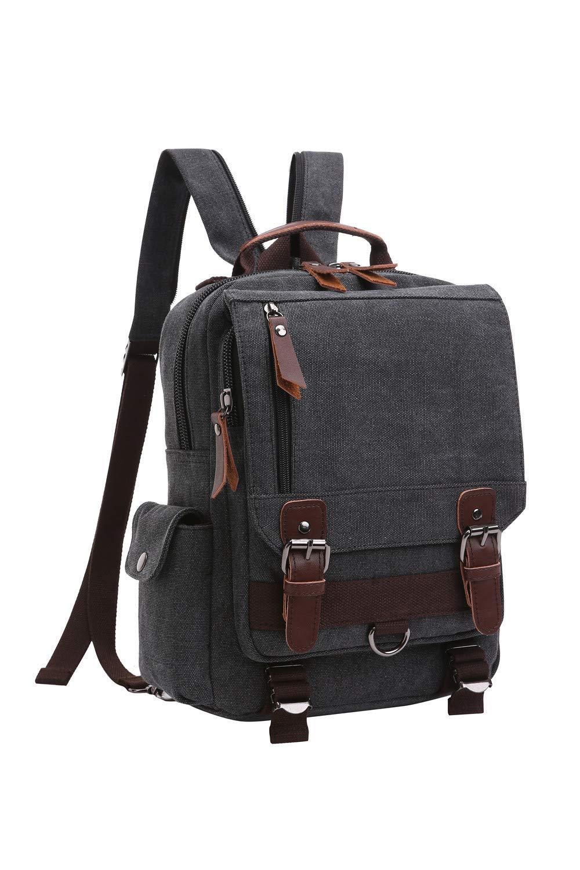 Lucien Hanna Canvas Cross Body Sling Bag Shoulder Backpack Messenger Bag For Women Men Girls Boys Black