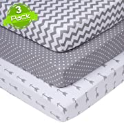 Crib Sheets Set for Boys & Girls | Super Soft 100% Jersey Knit Cotton | Grey and White | 150 GSM | 3 Pack
