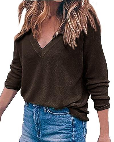 Auxo Suéter Mujer Camisetas Cuello V Manga Larga Pullover Sweater Otoño Primavera Loose Baggy Casual T Shirt Tops