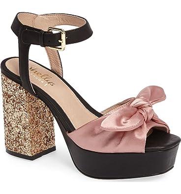 d9c4da3083b Shellys London Deepali Blush Satin Knotted Glitter Chunky Rocker Platform  Sandal (36)