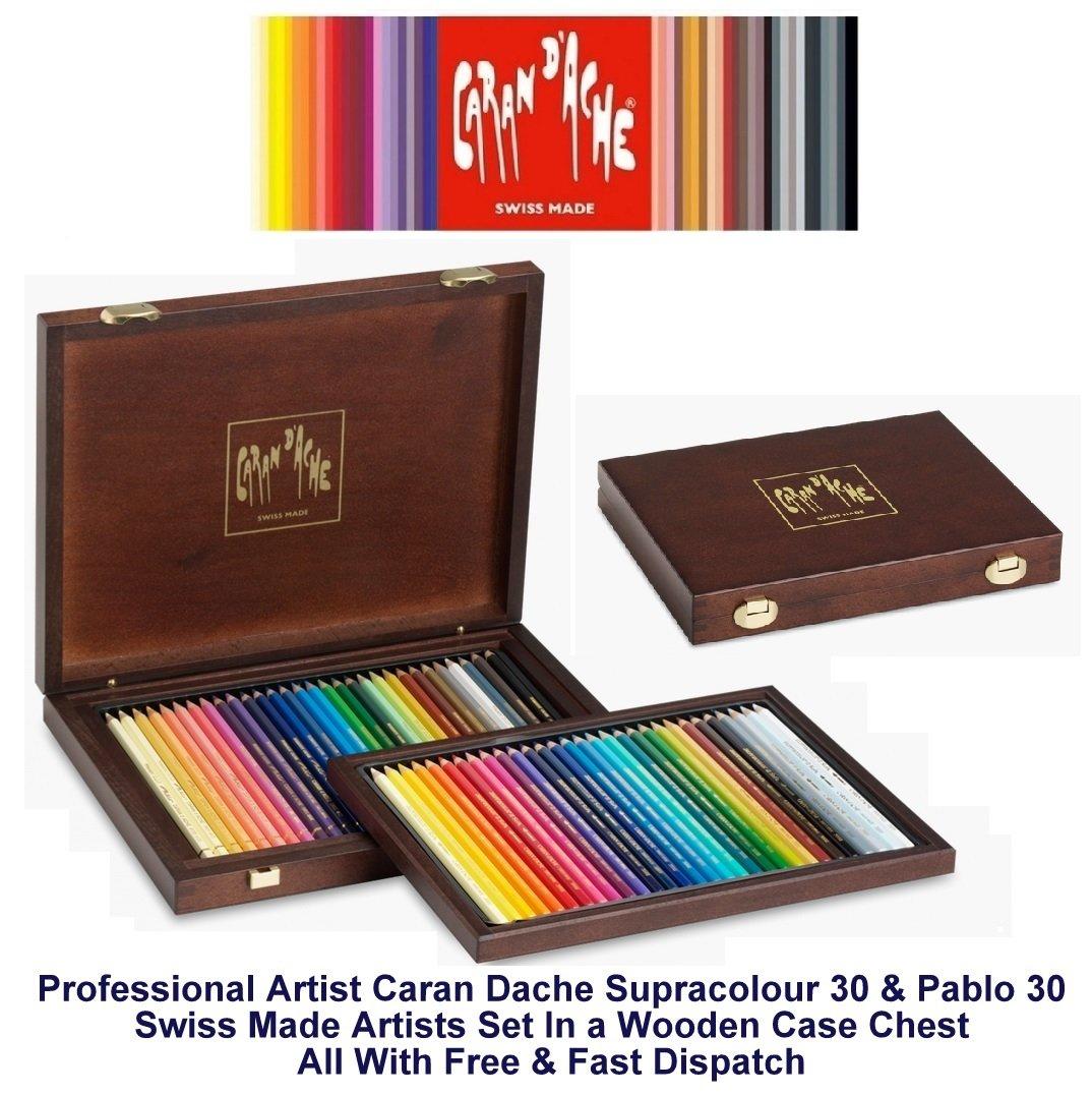 Caran D'ache 30 Supracolor Water-Soluble Colour Pencils & 30 Pablo Permanent Colour Pencils (3002.460)