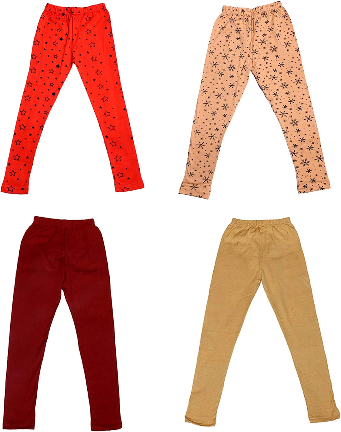 /_Multicolor/_Size-7-8 Years/_71400011619-IW-P4-30 Indistar Girls 2 Cotton Solid Legging Pants and 2 Cotton Printed Legging Pants Pack Of 4